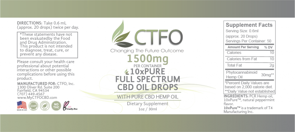 10xPURE Full Spectrum CBD Oil Drops – 1500mg