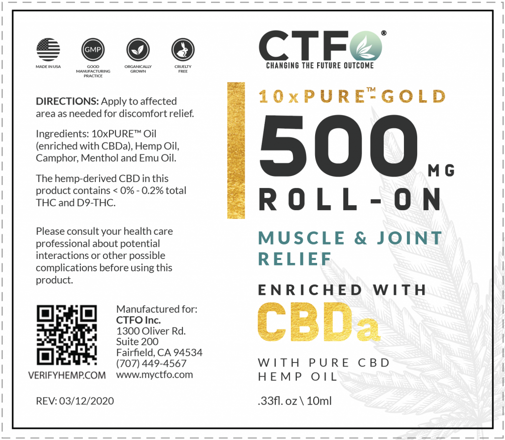 10xPURE-GOLD Roll-On, Muscle & Joint Relief