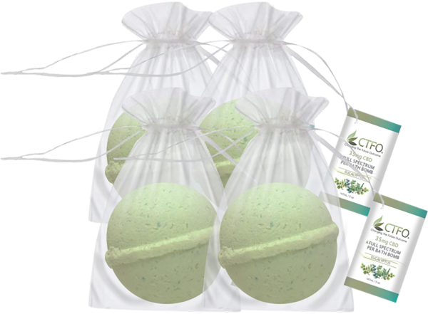 CBD Bath Bomb 4 Pack - Eucalyptus
