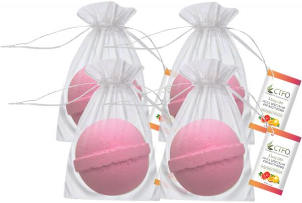 CBD Bath Bomb 4 Pack - Grapefruit