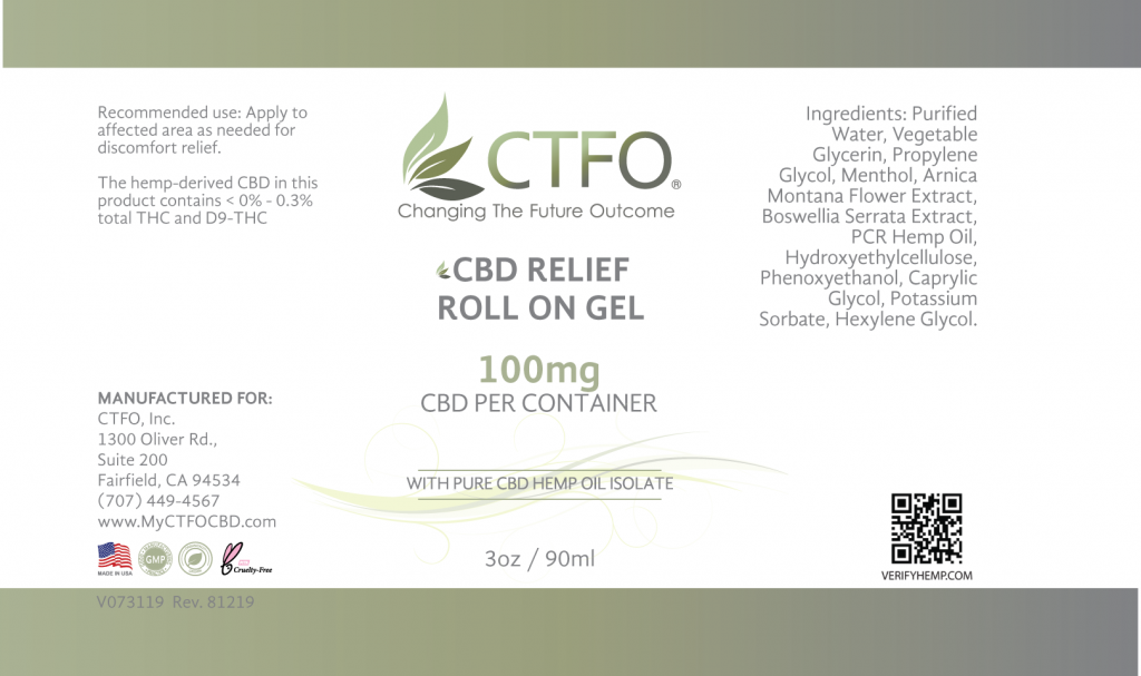 CBD Relief Roll On Gel - 100mg