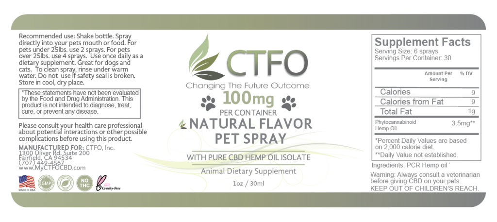 CBD Natural Flavor Pet Spray - 100mg