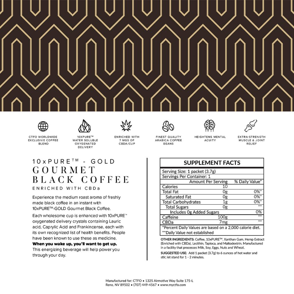 10xPURE GOLD Gourmet Black Coffee enriched with CBDa