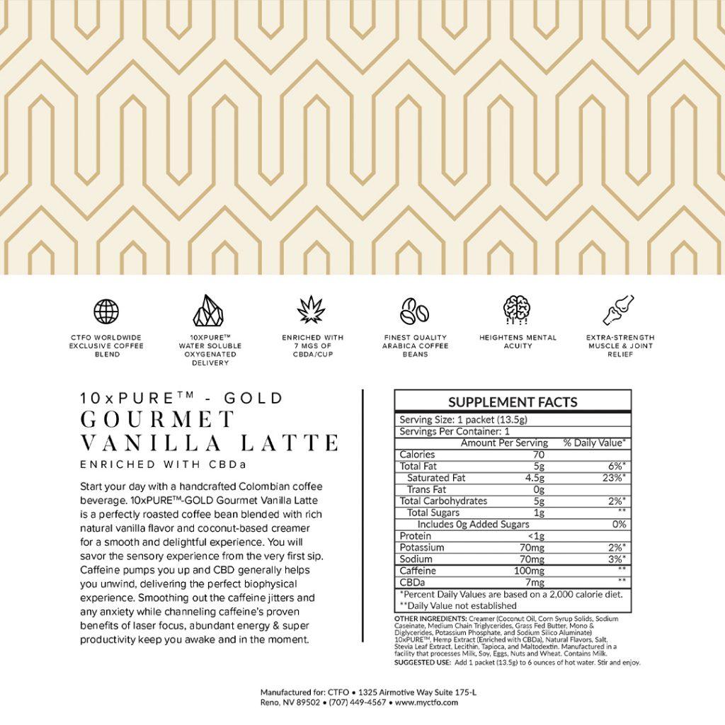 10xPURE-GOLD Gourmet Vanilla Latte enriched with CBDa