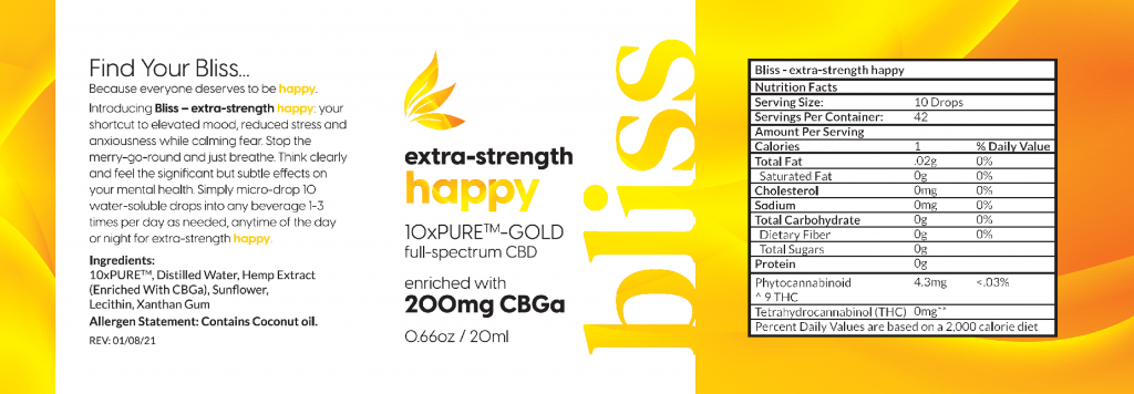 Bliss extra-strength happy enriched with CBGa