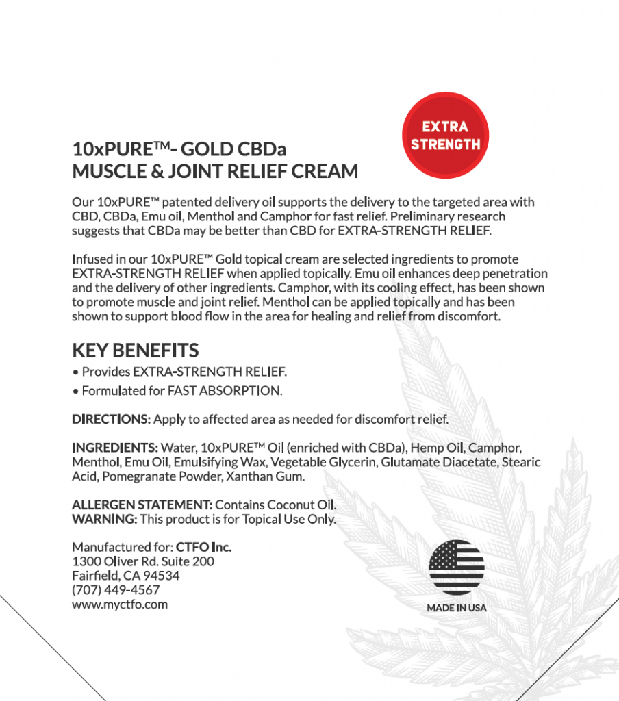 10xPURE-GOLD CBDa Muscle & Joint Relief Cream